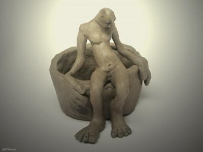 Desperance, Sculpture argile figurative ©LilaVert 2005