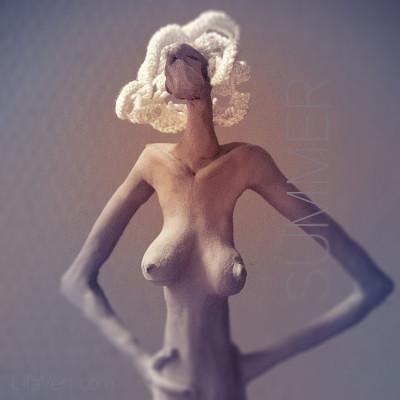 Sculpture Faience LilaVert