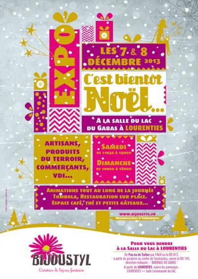 Creation Affiche Noël – Expo Vente organisé par Bijoustyl – A3 / 40 x 60 / 10 x 20 {2013}.