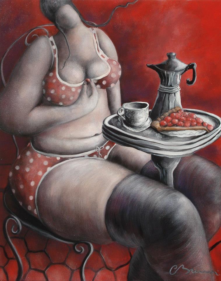 Julie aime beaucoup les tartes aux cerises – Acrylique sur toile – 81x65cm