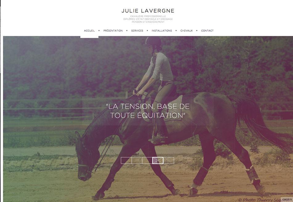 Magnifique site en Responsive design, Julie Lavergne [ Cavaliere professionnelle] – http://www.julie-lavergne.com