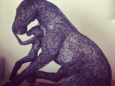 Sophie Ryder Artist – Girl Leaning on Horse – Wire Sculpture 2013
