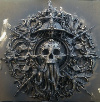 Cam Rackam – Cthulhu sculpture with gold patina layer