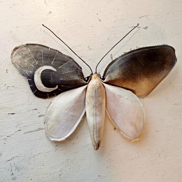 Mister finch, papillon textile art