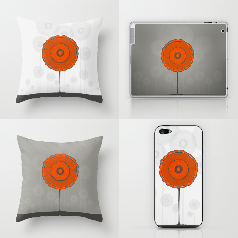Illustration coquelicots / Poppies coussin-iphone-coquelicot - shop society6 LilaVert