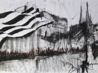 Guy Denning – Les bonnets rouges de Quimper – conte and pastel – 105×42 / nov 2013