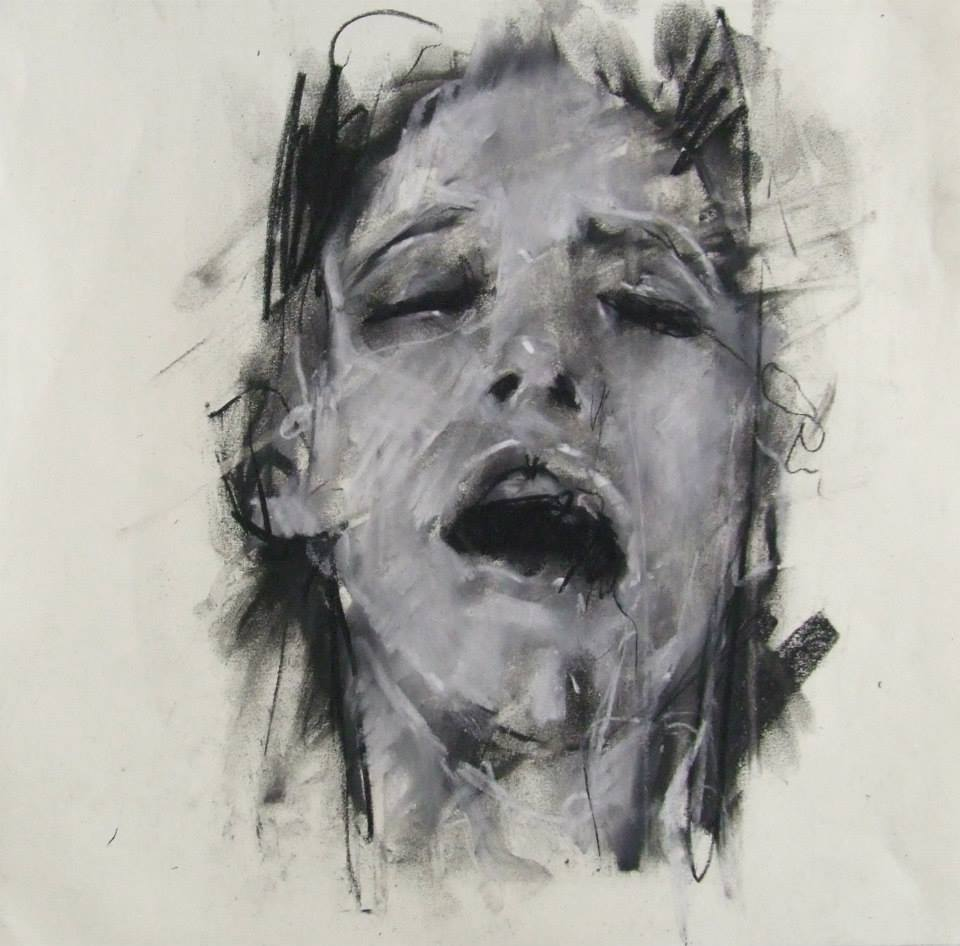 Guy Denning – coming / conte, pastel and chalk on paper 30 x 30 cm – 2013