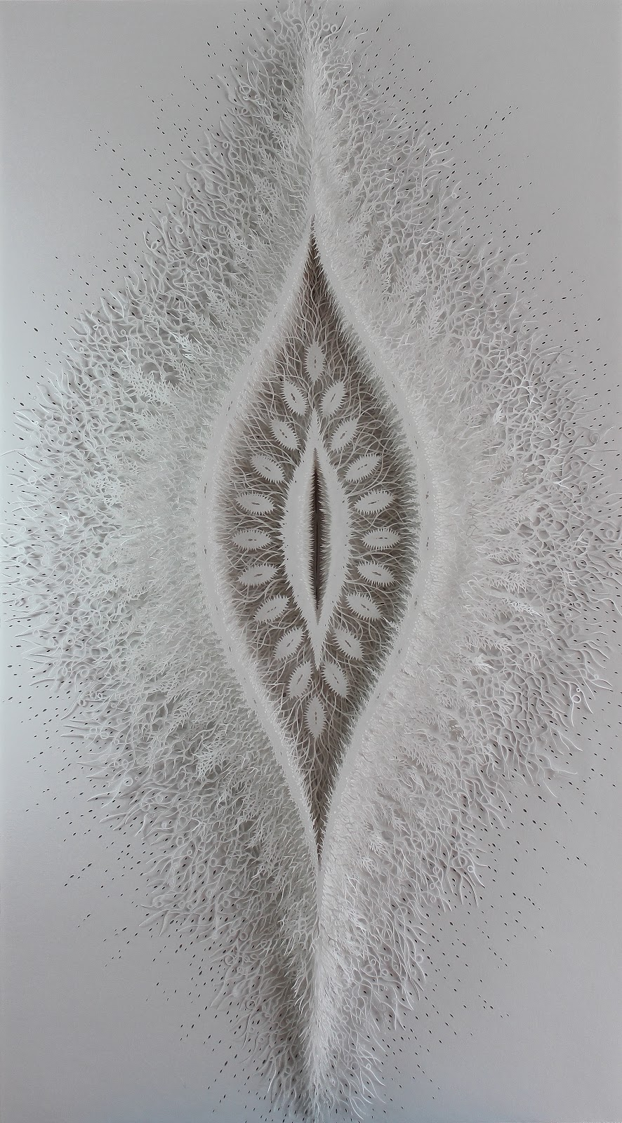 Rogan Brownart – Cut Pod – handcut watercolour paper 150x84cms