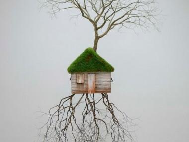 Jorge Mayet – sculpture racine, arbre, maison