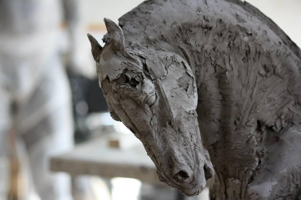 Sculpture Christophe Charbonnel, Cavalier III et Cavalier IV originaux terre cuite 2010 –