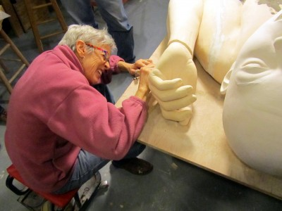 Tip Toland – sculptures – Tip working out the fix for her 8-foot-long piece, which will be at her Portland Art Museum opening, Feb. 1, 2014