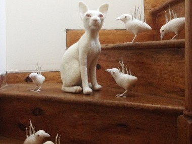 exzerothree-kitty and birds friend