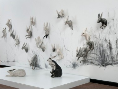 kelly connole-Scamper Installation – ceramic sculpture