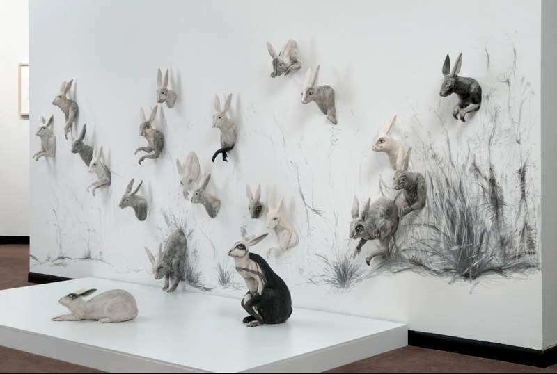 kelly connole-Scamper Installation – ceramic sculpture