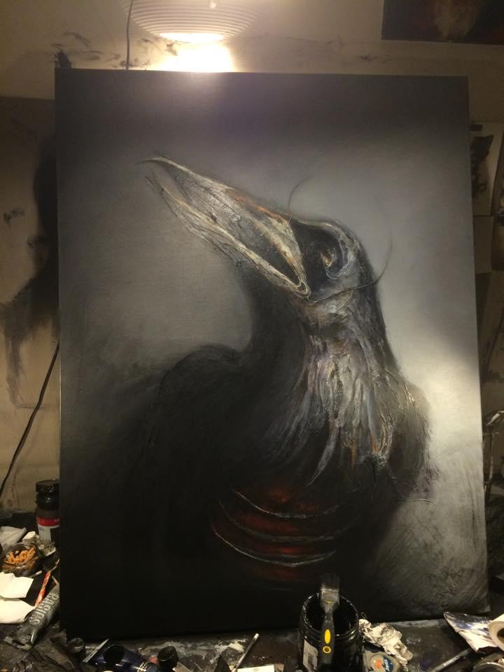 Eric lacombe – peinture corbeau macabre