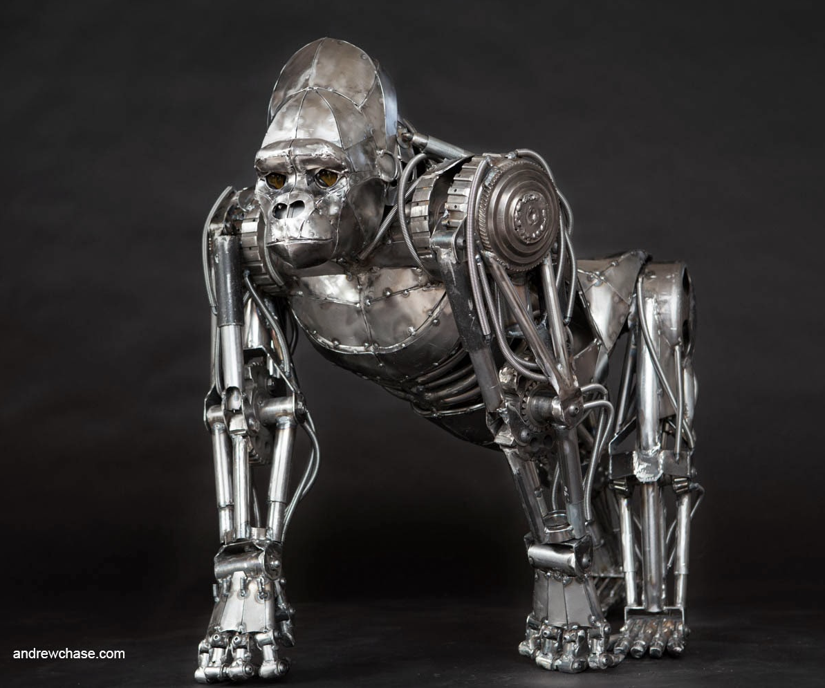 Andrew Chase – Gorilla / Mechanical metal sculpture
