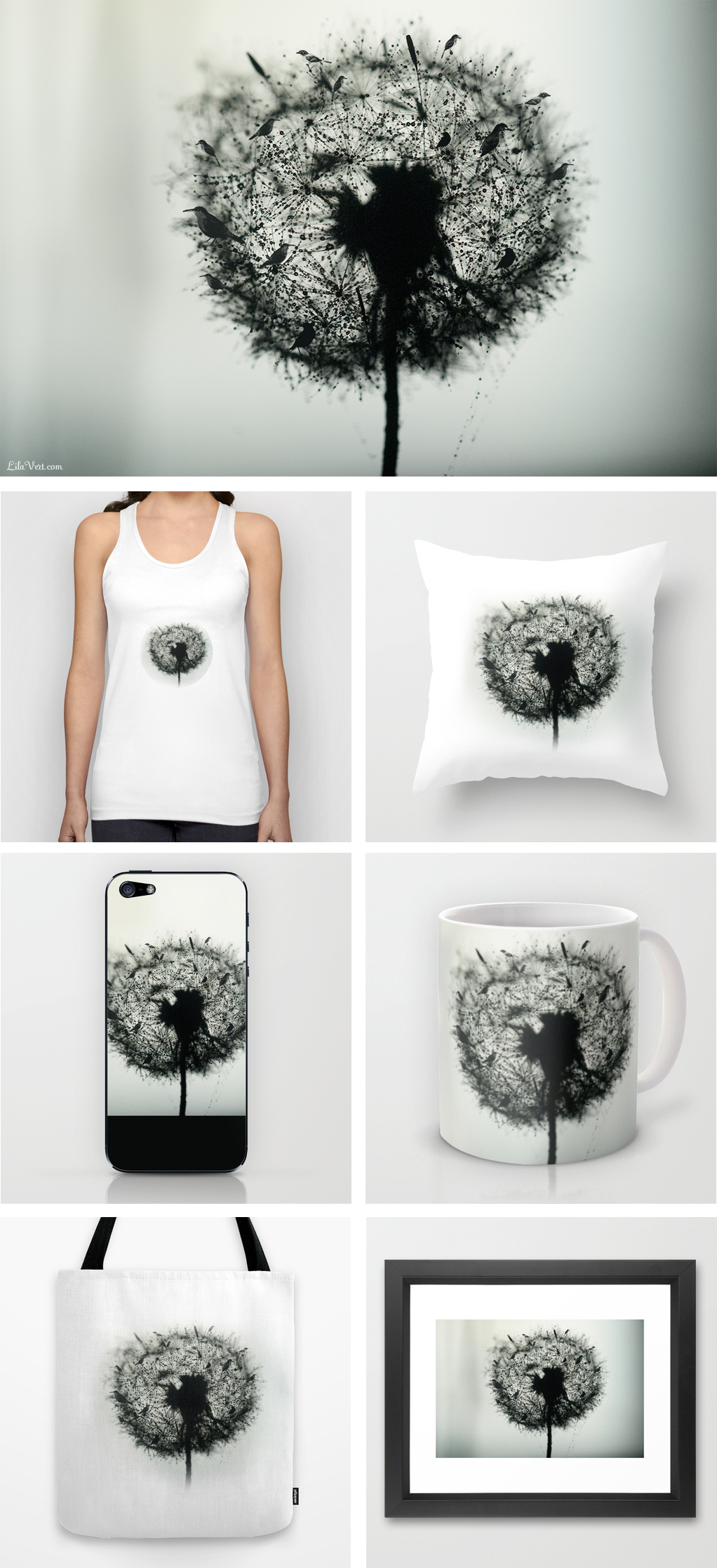 Dandelion Birds Photographic T-shirt, iphone, ipad etc…