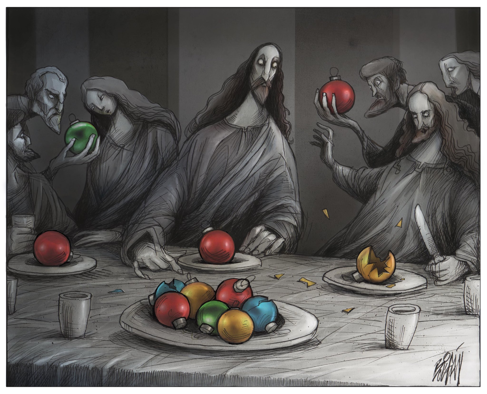 Angel Boligan – LA ÚLTIMA CENA – Comic cartoon xmas illustration