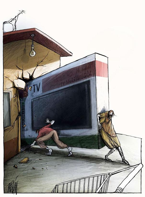 Angel Boligan illustration caricatures