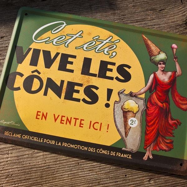Auguste Derriere - Plaque metal vive les cones en vente sur leur boutique