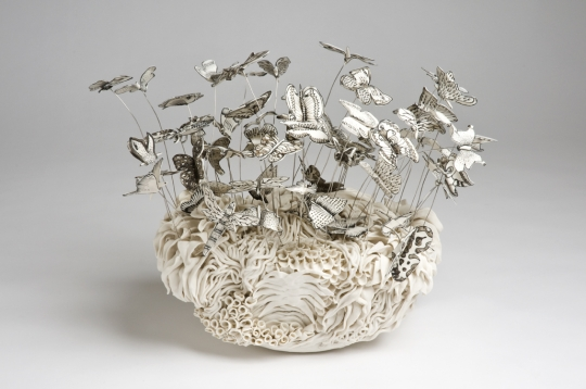 Butterfly Garden, Katharine Morling – porcelain, black stain and wire
