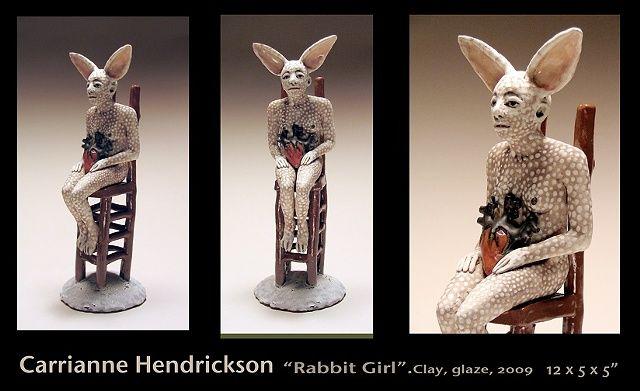 Carrieanne Hendrickson – Seated Rabbit figure – Figurative sculptures