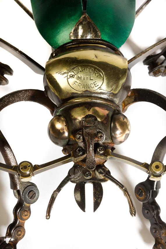 EDOUARD MARTINET – Green Beetle / steampunk sculpture art