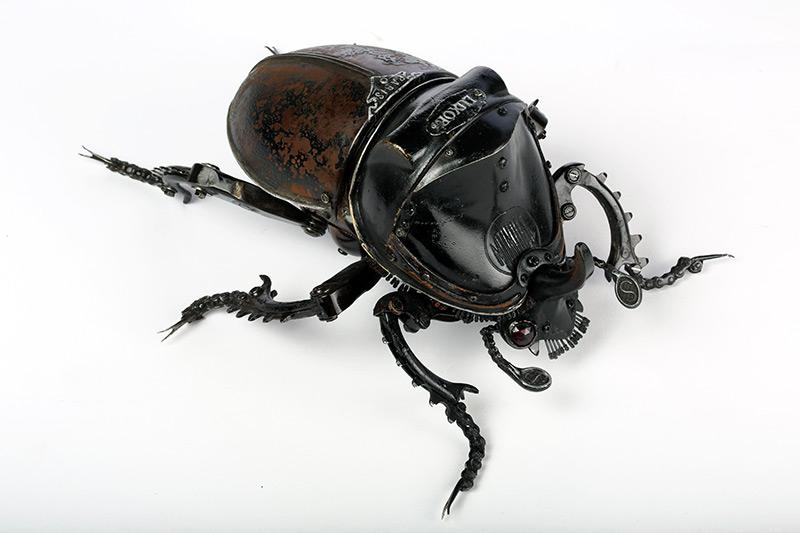 Edouard martinet – Rhinoceros beetle. 13″ x 11″ x 6″ / steampunk sculpture art