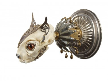 Jessica Joslin – Cat – Antique brass hardware and findings, silver filigree cut-work, bone, steel, beads, glove leather, glass eyes
