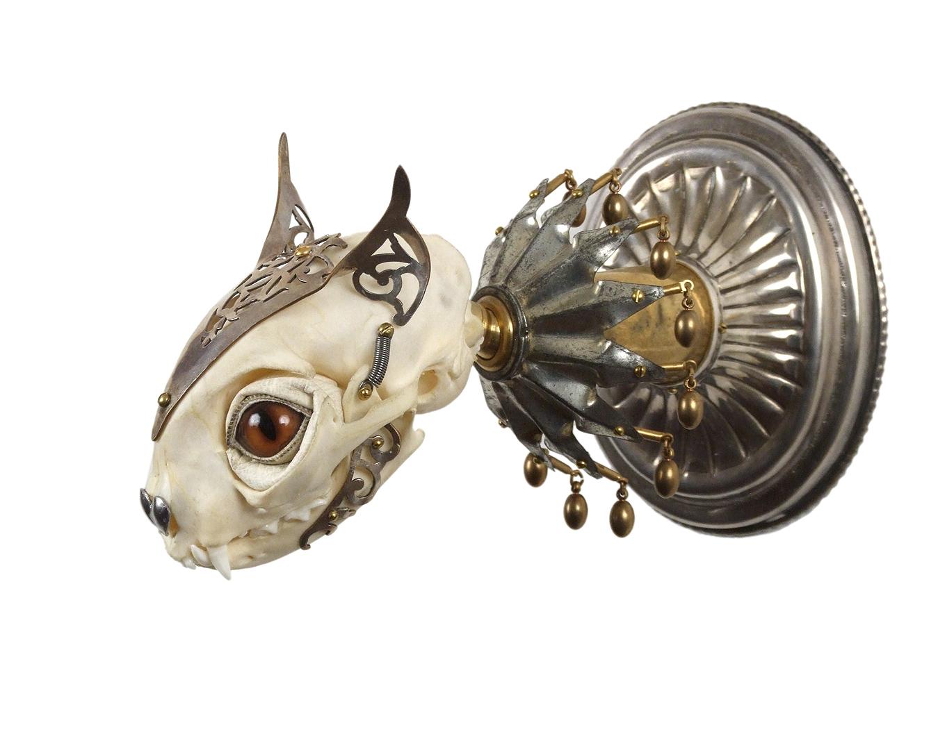 Jessica Joslin – Cat – Antique brass hardware and findings, silver filigree cut-work, bone, steel, beads, glove leather, glass eyes