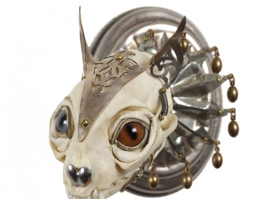 Jessica Joslin – Cat-Antique brass hardware and findings, silver filigree cut-work, bone, steel, beads, glove leather, glass eyes2