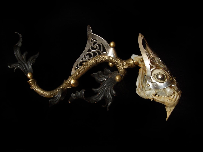 Jessica Joslin – Orlando – Antique hardware and chandelier parts, brass, bone, steel, glove leather