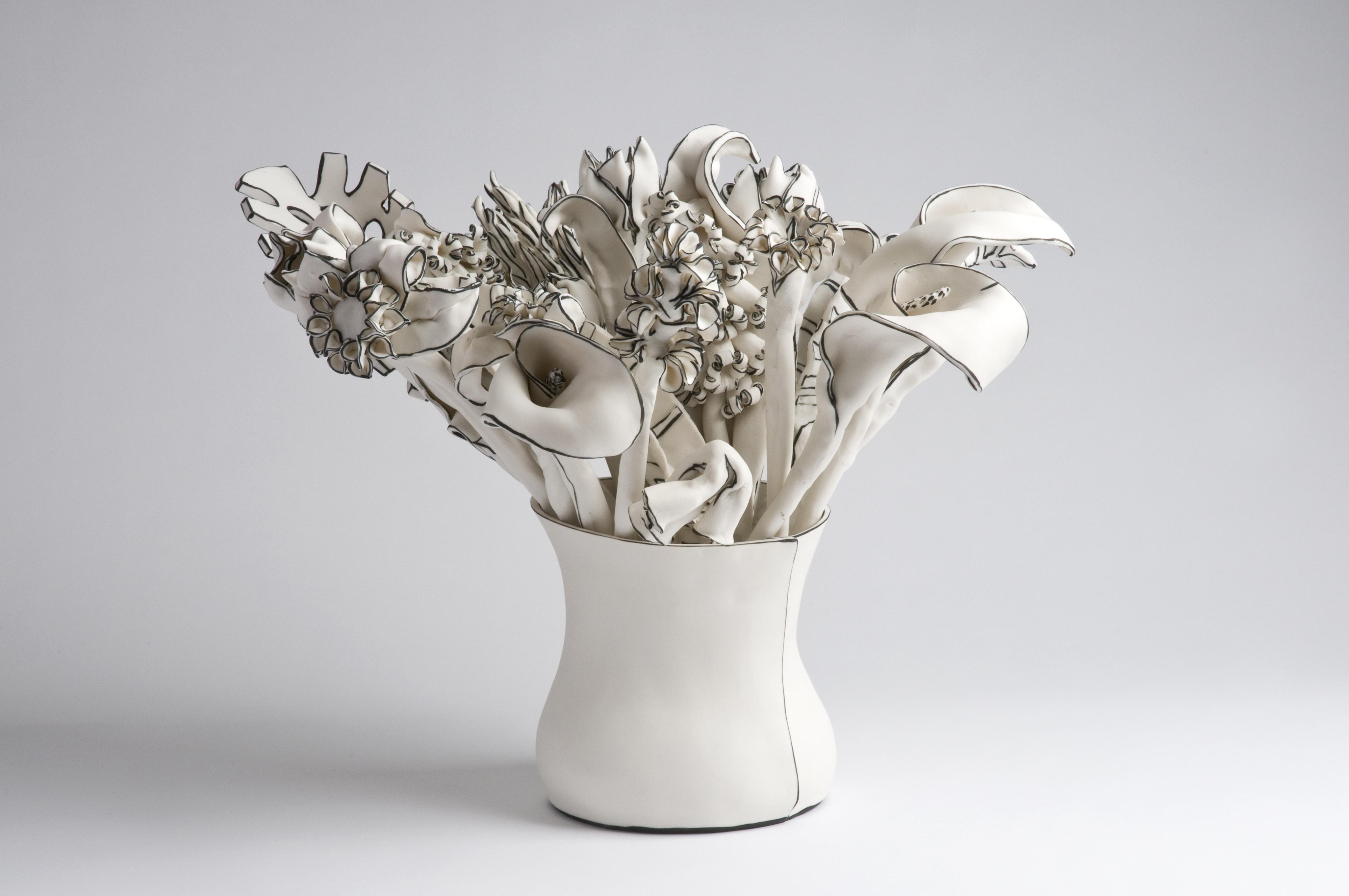 Katharine Morling – Vase of stems – Porcelain and black stain