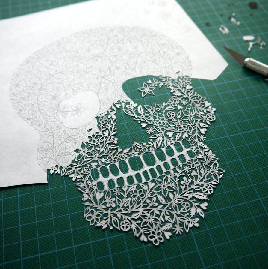 SUZY TAYLOR – skull paper art details