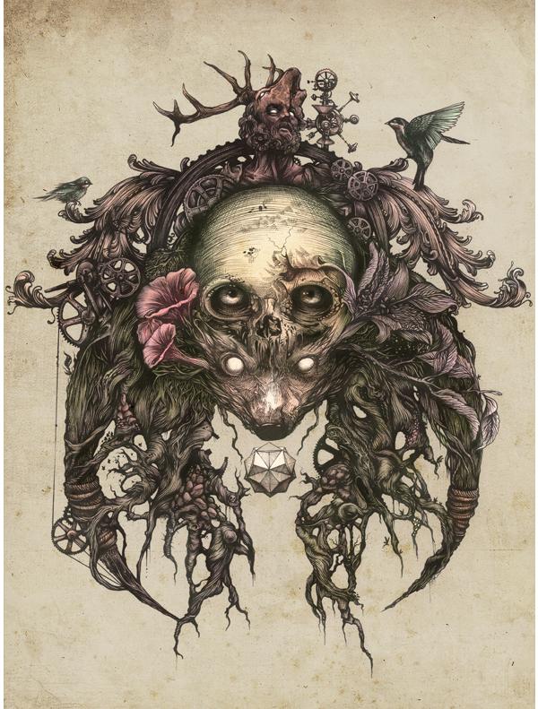 DZO – artist illustration – fine art – skull – tete de mort illustrée
