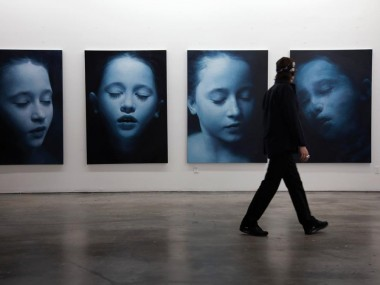 Helnwein working on serie Sleep paintings, 2010