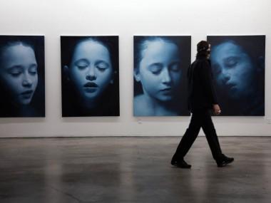Helnwein working on serie Sleep paintings, 2010
