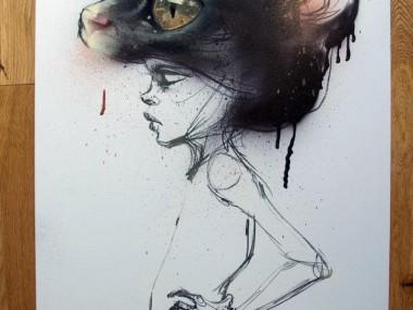 Herakut – Family Member No.5 – spraypaint & charcoal / Street artist