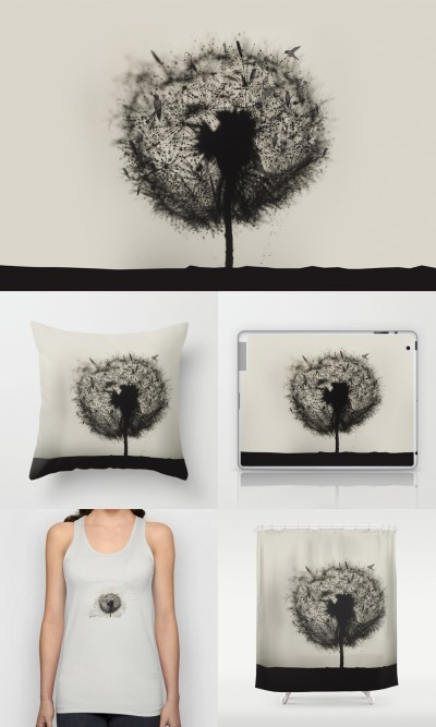 Dandelion birds -V2 / Print photographic, t-shirt, coussin, ipad, iphone, rugs, tapis