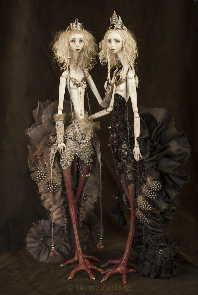 Dorote Zaukaite - Black Siren dolls mixed media