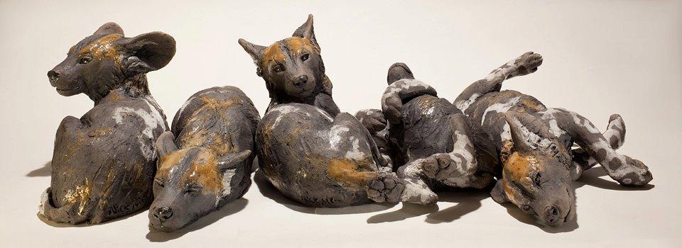Nick Mackman – Wild dog pup sculptures
