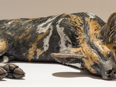 Nick Mackman – chien – Painted dog sculpture