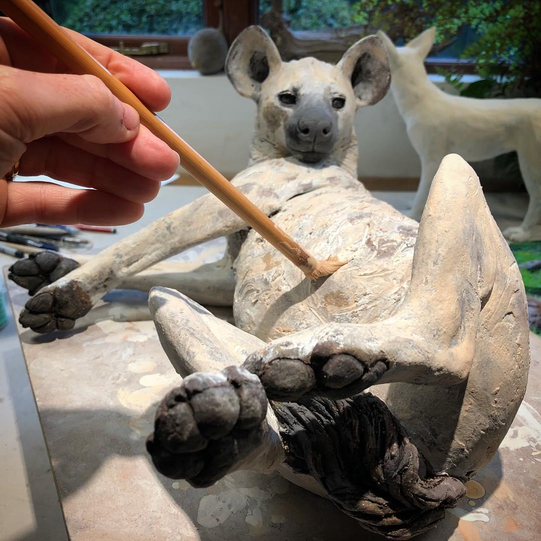 Nick Mackman sculpture – Glazing the Hyena sculpture