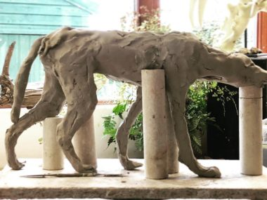 Nick Mackman sculpture – Wild dog sculpture WIP