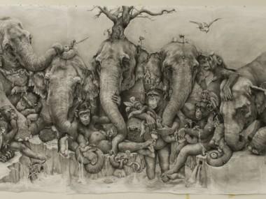 Adonna Khare Artist – Mural Fresque Elephants