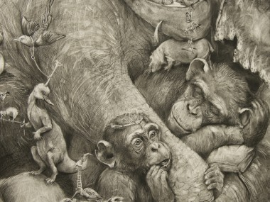 Adonna Khare Artist – Fresque Sleeping-Chimp