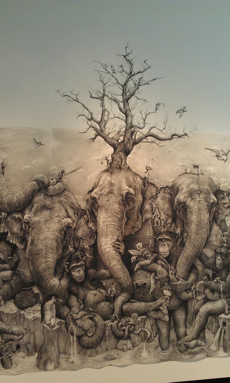 Adonna Khare Artist – Fresque éléphants