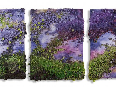 Amy Genser – Amarynthine Chartreuse / Dimensional paper collages