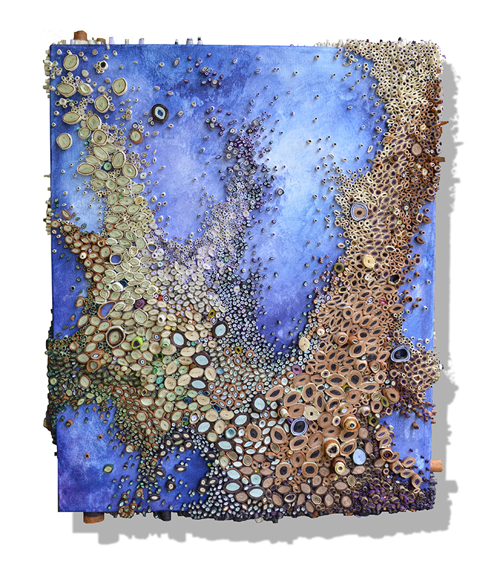 Amy Genser – amethyst migration_36x30x2.5 / Dimensional paper collages