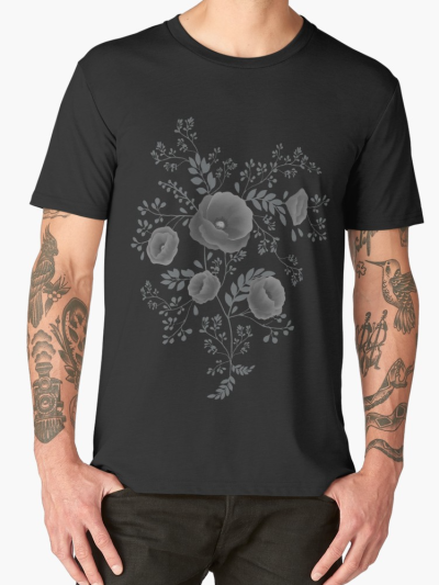Black poppy illustration tee-shirt